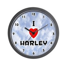 I Love Harley (Black) Valentine Wall Clock