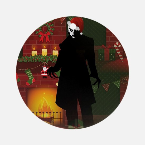 christmas nosferatu Round Ornament