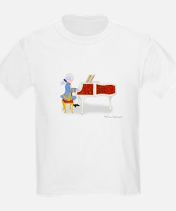 Young Mozart Playing the Piano Kids White T-Shirt