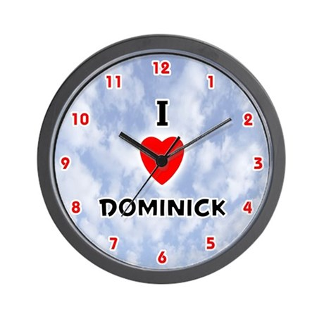 I Love Dominick (Red/Blk) Valentine Wall Clock