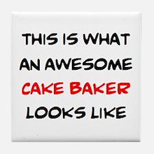 awesome cake baker Tile Coaster