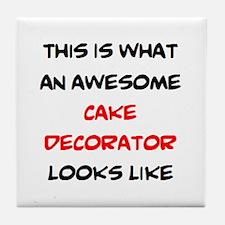 awesome cake decorator Tile Coaster