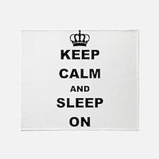 KEEP CAM AND SLEEP ON Throw Blanket
