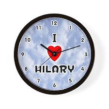 I Love Hilary (Black) Valentine Wall Clock