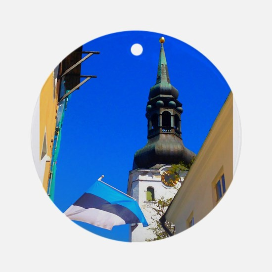 Blue Skies of Estonia Round Ornament