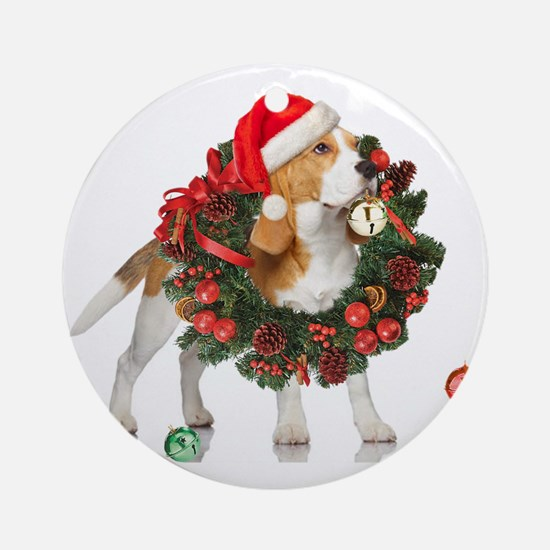Beagle Christmas Bells Round Ornament