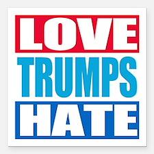 "Love Trumps Hate Square Car Magnet 3"" x 3"""
