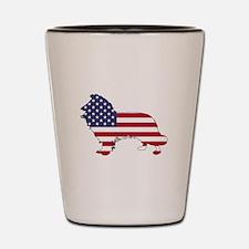American Flag - Border Collie Shot Glass