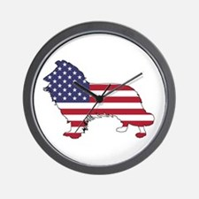American Flag - Border Collie Wall Clock