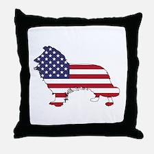 American Flag - Border Collie Throw Pillow