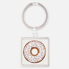 Christmas Sprinkles Donut Square Keychain