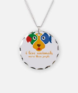 i love animals more than peo Necklace