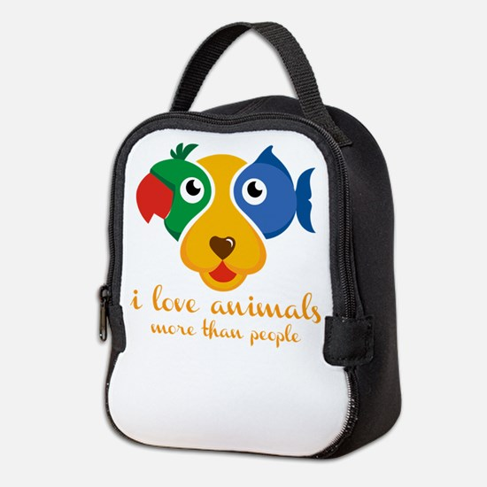 i love animals more than people Neoprene Lunch Bag