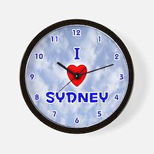 I Love Sydney (Blue) Valentine Wall Clock