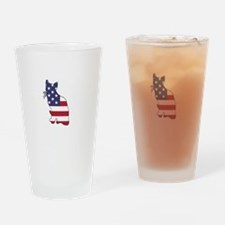 American Flag - Cat Drinking Glass