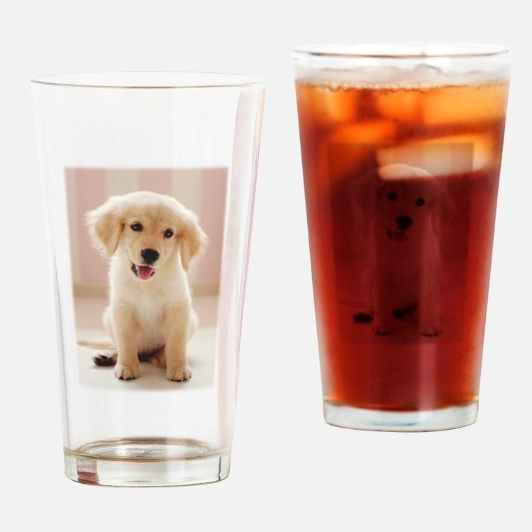 Golden Retriever Pup Drinking Glass