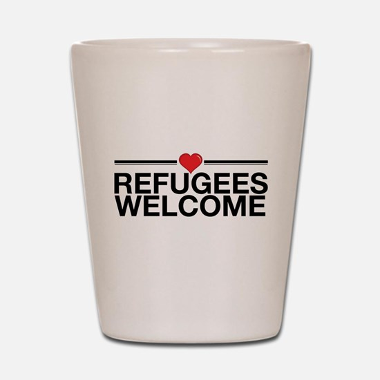 Refugees Welcome Shot Glass