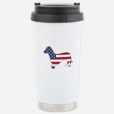 Dachshund - American Fl Stainless Steel Travel Mug