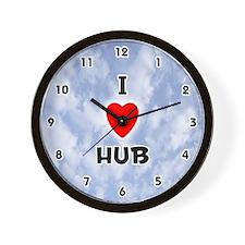 I Love Hub (Black) Valentine Wall Clock