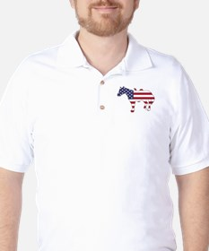 Horse - American Flag Golf Shirt