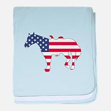 Horse - American Flag baby blanket