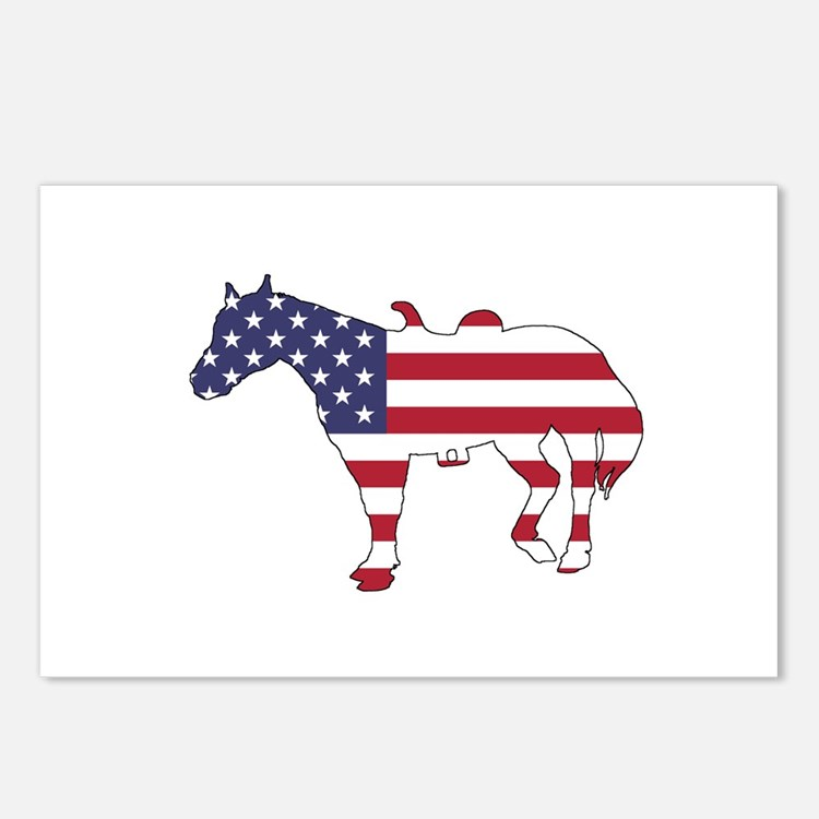 Horse - American Flag Postcards (Package of 8)
