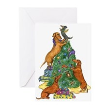 Dachshunds Decorating Tree Christmas Cards (10)