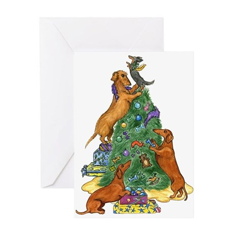 Dachshunds Decorating Tree Christmas Card
