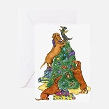 Dachshunds Decorating Tree Christmas Card
