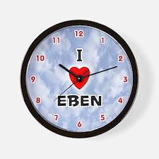 I Love Eben (Red/Blk) Valentine Wall Clock