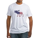 Moose american flag Fitted Light T-Shirts