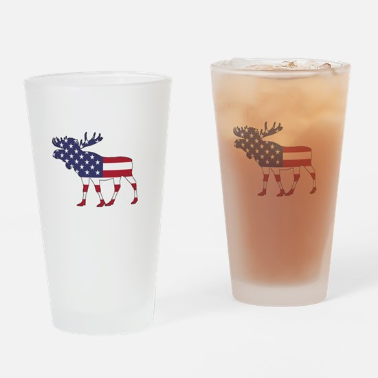 Moose - American Flag Drinking Glass