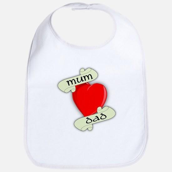 Mum and Dad Heart Baby Bib