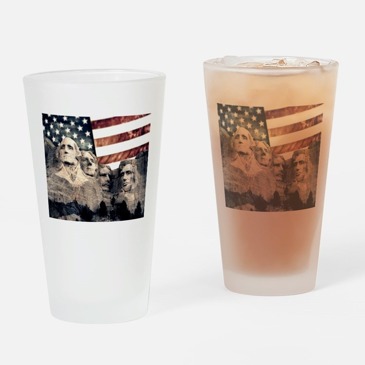 Patriotic Mount Rushmore Drinking Glass