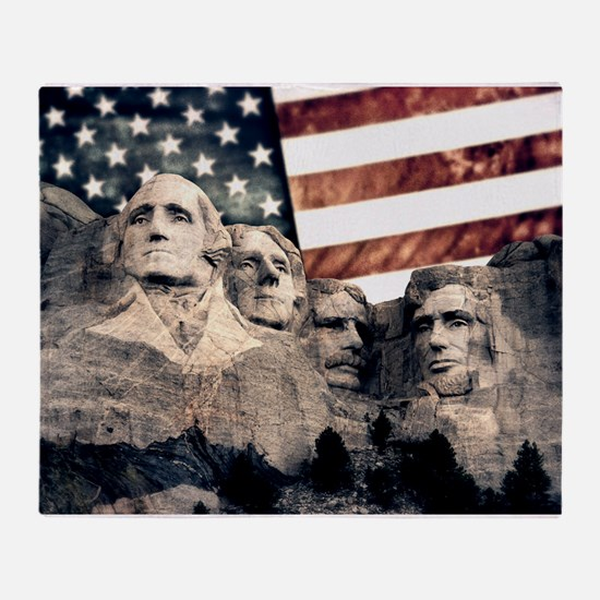 Patriotic Mount Rushmore Throw Blanket
