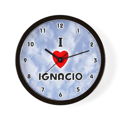 I Love Ignacio (Black) Valentine Wall Clock