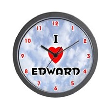 I Love Edward (Red/Blk) Valentine Wall Clock
