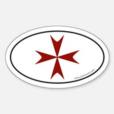 Maltese Cross Bumper Sticker -Red Graphic (Oval)