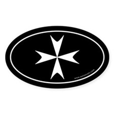 Maltese Cross Bumper Sticker -Black (Oval)