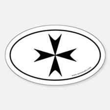 Maltese Cross Bumper Sticker -White (Oval)