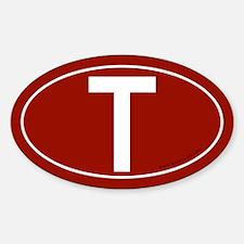 Tau (Crux Commissa) Sticker -Red (Oval)