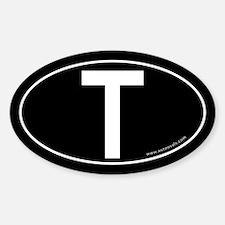 Tau (Crux Commissa) Sticker -Black (Oval)