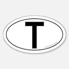 Tau (Crux Commissa) Sticker -White (Oval)