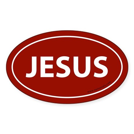 Jesus Bumper Sticker -Red (Oval)