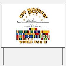 USS Missouri - WWII w SVC Ribbons Yard Sign
