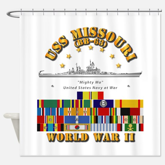 USS Missouri - WWII w SVC Ribbons Shower Curtain