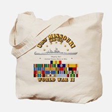 USS Missouri - WWII w SVC Ribbons Tote Bag