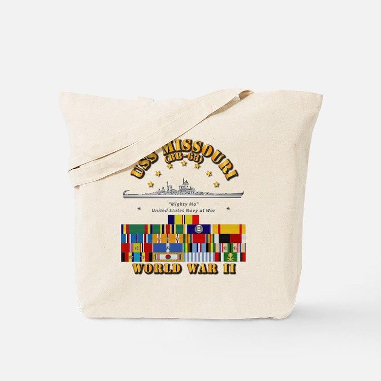 USS Missouri - WWII w SVC Ribbons Tote Bag
