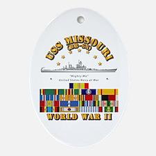 USS Missouri - WWII w SVC Ribbons Oval Ornament