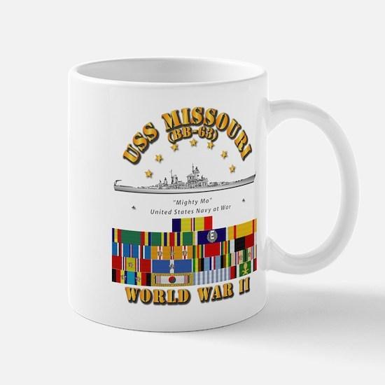 USS Missouri - WWII w SVC Ribbons Mug